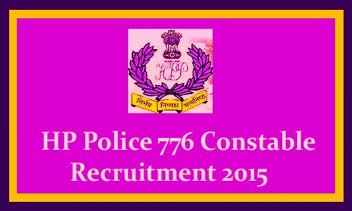 Office of the Director General of Police, Himachal Pradesh Police Head Quarters recruitment 2015 for 776 Constable govt jobs Candidates with 10+2 can apply.