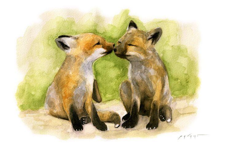 Due fratelli (Cuccioli di volpe rossa Vulpes vulpes) - 29x21 cm Acquerello su carta