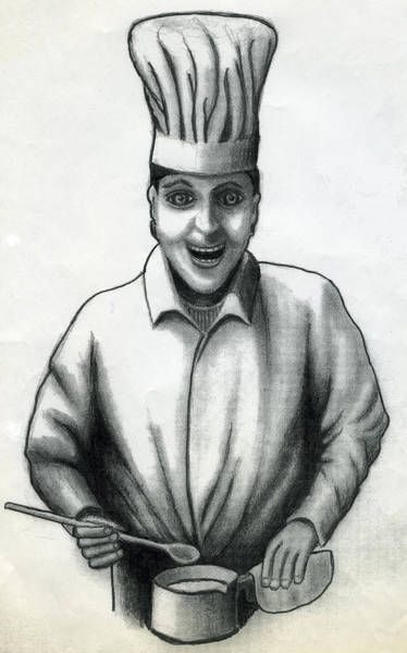 'Cook', drawing, illustration for the Behr's Verlag (www.behrs.de), about 1998  The cook was a little drawn out, so it is narrower than on the original drawing, which is presumably still at the publisher. Artist: Raimund J. Höltich