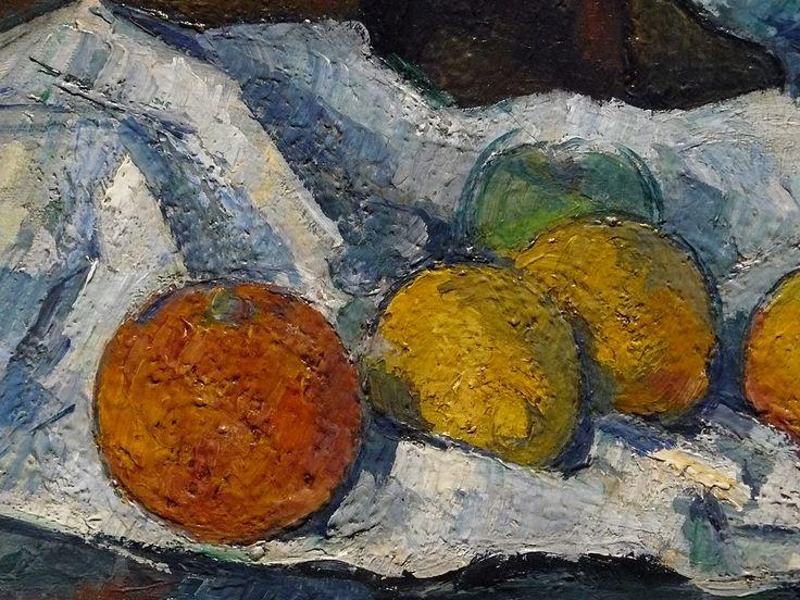 """CEZANNE,1877-79 - Le Buffet - Still Life, The Buffet (Budapest) - Detail -g  -  TAGS : details détail détails detalles painting paintings peinturepaintings """"Paul Cézanne"""" """"Paul Cezanne"""" Cezanne Cézanne """"Still life"""" """"Nature morte"""" Budapest Hongrie Hungary """"Nature morte"""" citrons citron lemon lemons orange oranges nappe """"nappe blanche"""" """"white cloth"""" chiffon cloth bleu blue tasse cup sucrier """"sugar bowl"""" buffet knife fruit food pomme apple apples glass verre dessert biscuits"""