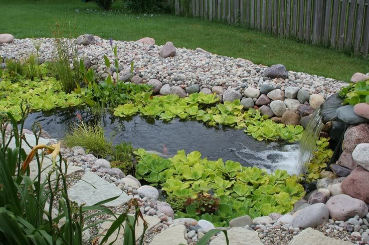 This preformed pond is all done up nicely. Love the rocks & the lily pads. Lots of texture.