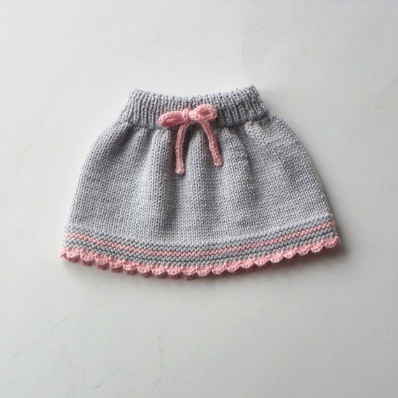 Baby skirt knitted baby skirt merino wool skirt grey and pink skirt MADE TO ORDER