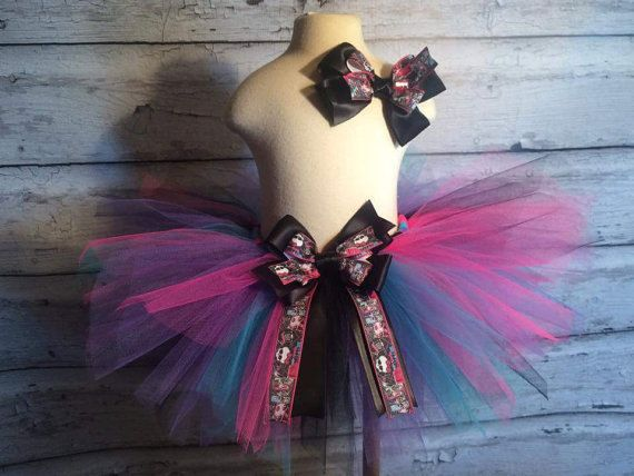 Handmade Monster High Tutu With Matching Hair Bow by TulledDreamers on Etsy