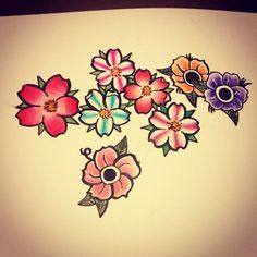 old school tattoos flowers