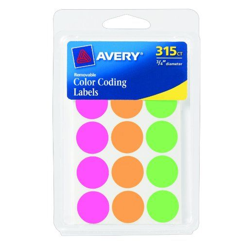 $6 Avery Round Color Coding Labels, 0.75 Inch, Assorted, Removable,Pack of 315 (6733) Avery,http://www.amazon.com/dp/B004INFQJ0/ref=cm_sw_r_pi_dp_Nb3btb027Y90EA57