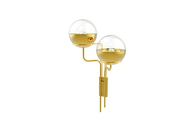 NIKU | Modern Gold Plated Wall Light with 2 globes by BRABBU | See more at http://brabbucontract.com