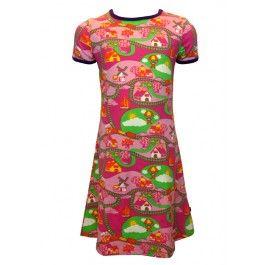 Comfortabele jurk van Smafolk. Zacht en een beetje stretch, afgewerkt met een paarse bies aan de hals en de mouwen. Zomer 2014.