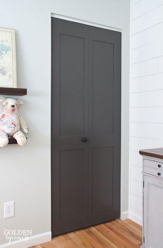 Gorgeous dark gray updated closet doors. Simple DIY closet door update | The Golden Sycamore