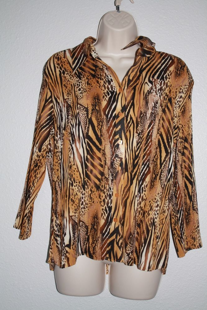 Essentials by Milano Tiger animal print long sleeve top size XL  #EssentialsbyMilano #ButtonDownShirt #Casual