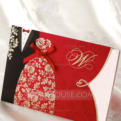Invitation Cards Classic Theme Summer Spring Fall Winter Red Bride & Groom Style Horizontal Wrap & Pocket Pearl Paper Yes Yes Z-Fold Yes (Set of 50) Wedding Invitations