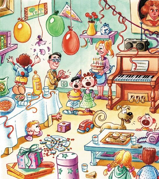 el cumpleaños ( de Rafael  Estrada ) => ¿Qué están haciendo?
