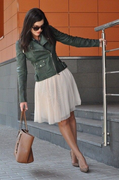 Косуха, leather and romantic skirt