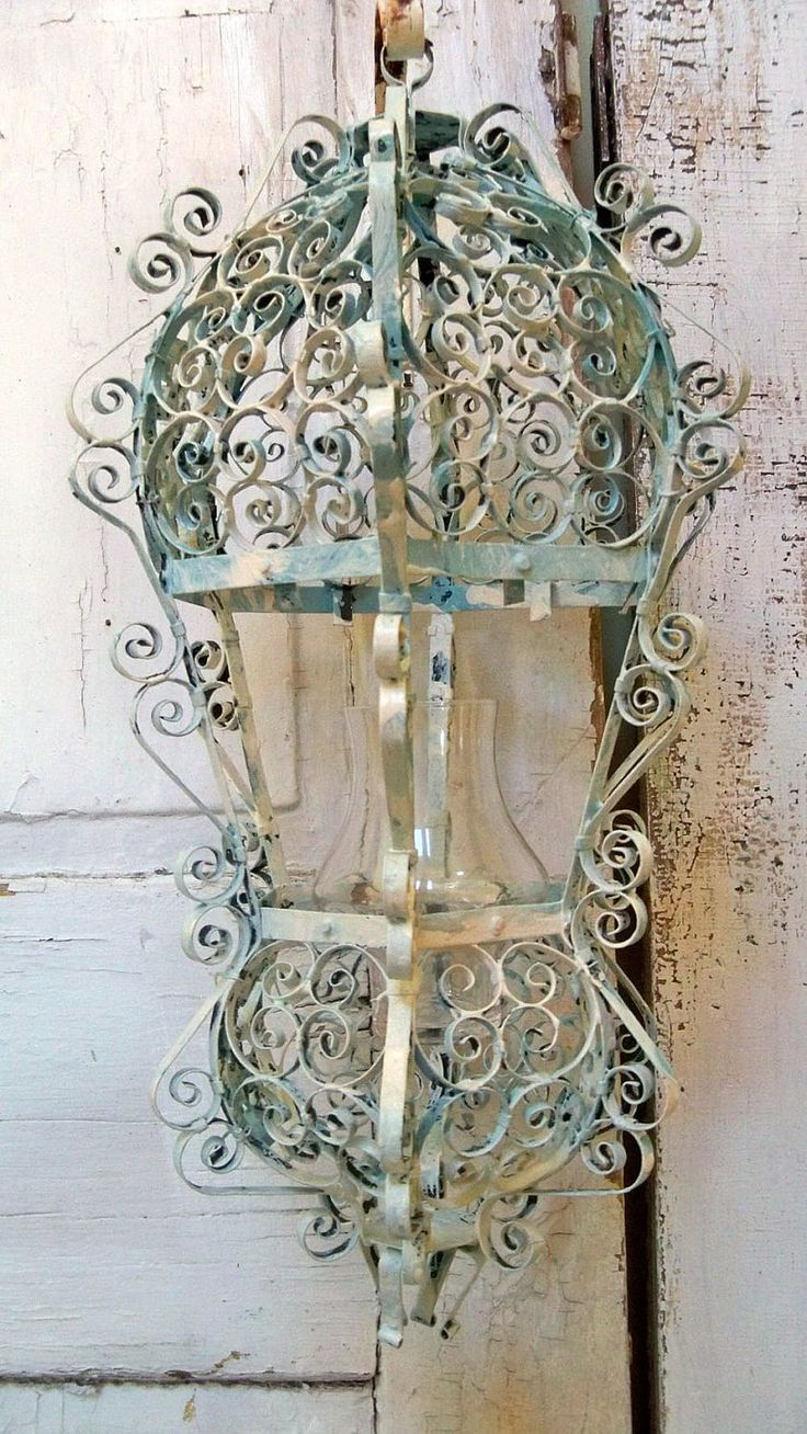 Shabby chic ornate candle lantern metal distressed hand painted scroll style home decor ooak Anita Spero. Etsy.