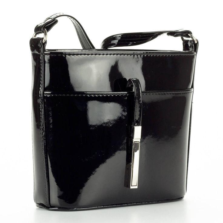 Prestige fekete lakk alkalmi táska osztatlan belső térrel. Belsejében cipzáros zseb és telefonzseb kapott helyet. – ChiX Női Cipő- és Táska Webáruház  #bags #fashionbags