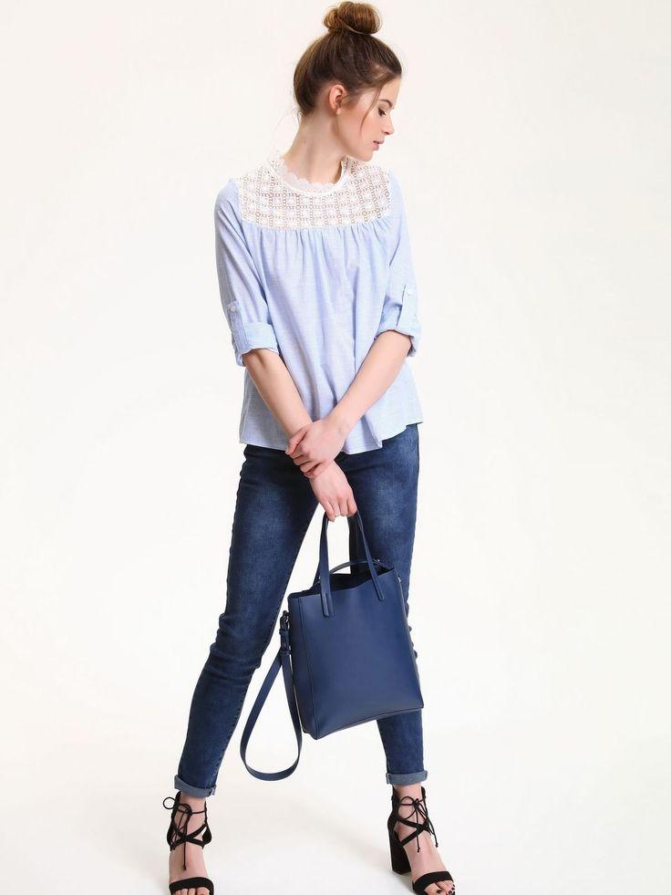 Comanda online, Bluza dama casual cu maneca lunga Top Secret albastra cu aplicatii de dantela. Articole masurate, calitate garantata!
