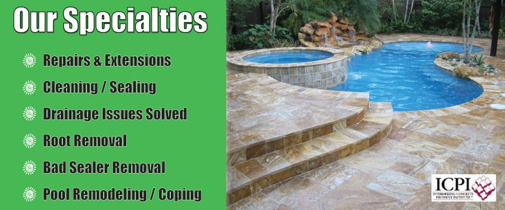 Our Creative Exterior Remodeling Specialties                                                    Installations & RepairsPool Remodel / Pool Coping & Tile Bad Sealer Removal  Drainage Issues Solved Root Clearing Retaining Wall Work  Patio & Walkway Extensions Cleaning / Sealing Repairs & Extensions