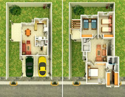 63 best planos images on pinterest small houses for Planos de casas de dos plantas