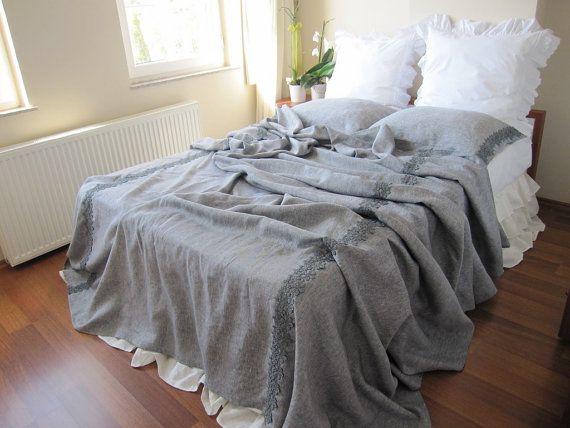 Grey shabby chic bedding-gray linen QUEEN or KING size bedspread/coverlet/blanket/top sheet elegant bed cover - linen coverlet Nurdanceyiz
