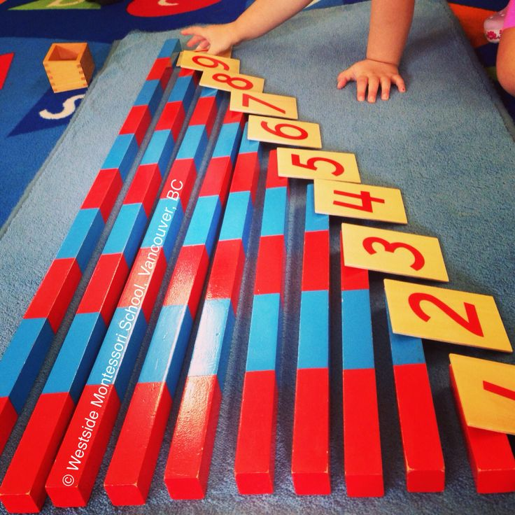 Montessori Math - number rods and cards. Following Nienhuis cards and matching rods and numerals (matching quantities to the written number).