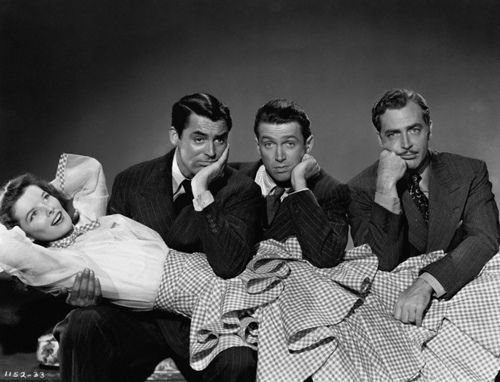 Katharine Hepburn, Cary Grant, Jimmy Stewart, and John Howard. The Philadelphia Story, 1940.