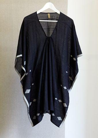 Black Diamond Caftan, White Diamond Embroidery - $330
