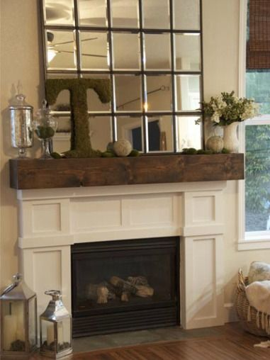 Add a huge mirror!   Bare Mantel Blues |Adore Your Place  #fireplace #mantel # decor