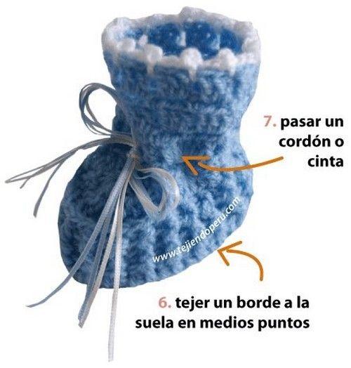 Charmants chaussons bleus pour bébé , avec un pas à pas en images , trouvé sur la page facebook de & Crochet Albums & , réalisé et partagé par & Tejiendoperu.com & .