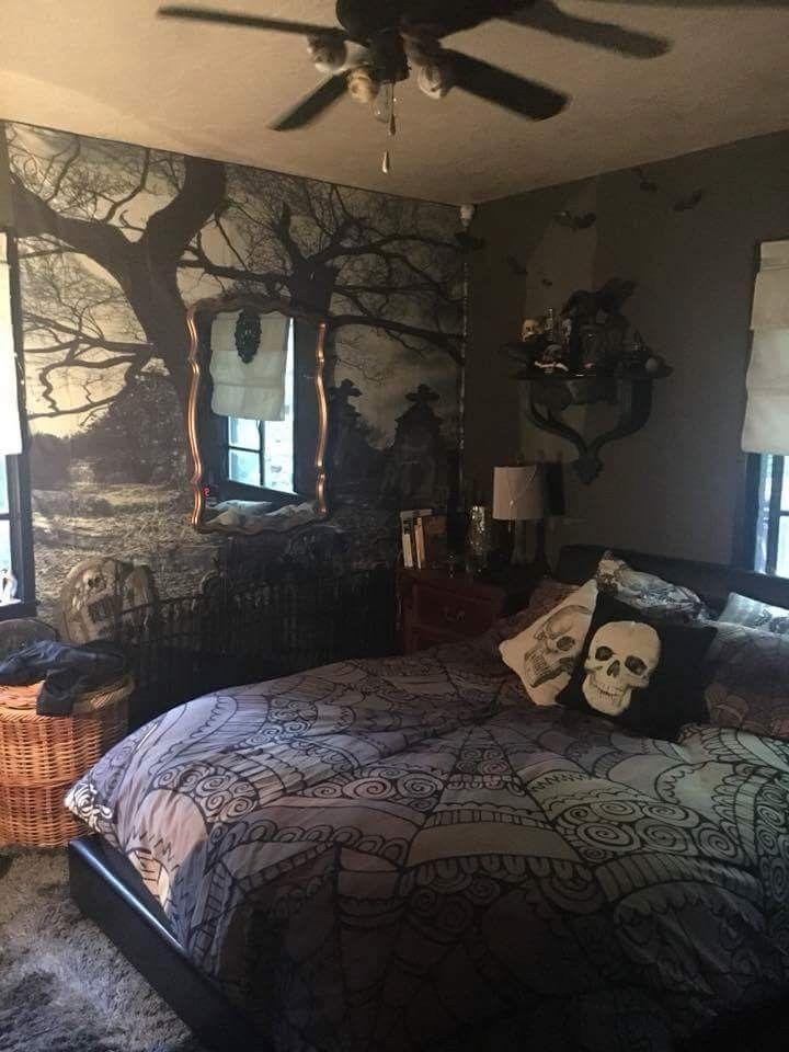 Skull Bedding And Cemetery Wallpaper