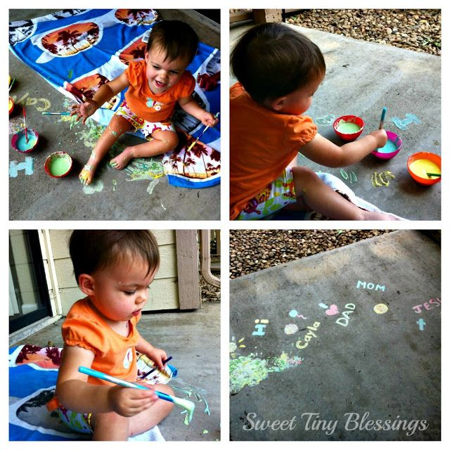 Homemade Sidewalk Paint {Art Activity} - Sweet Tiny Blessings