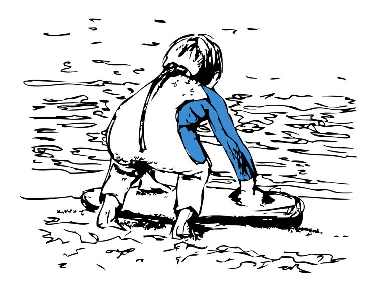 Little Boy Bodyboarding Graphic Illustration