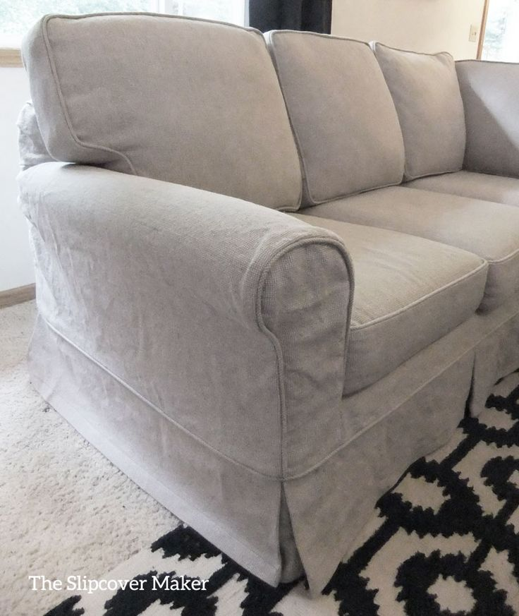 Relaxed linen and cotton slipcover transforms this classic sectional. Fabric: Upholstery Linen color Oatmeal from Gray Line Linen.