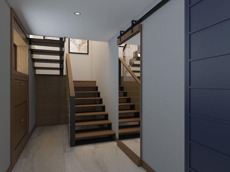 Прихожая, холл, лестничная клетка с подсветкой внизу каждого лестничного марша. В интерьере использованы только натуральны материалы.