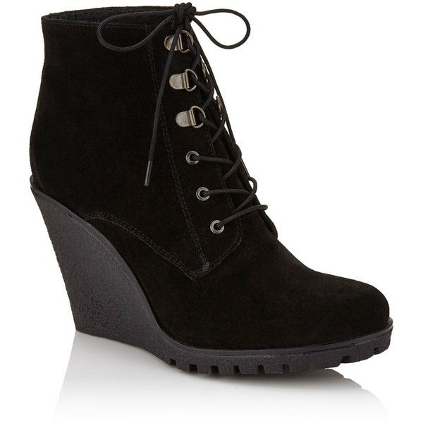 Ravel Wedge Lace Up Ankle Boot (€94) ❤ liked on Polyvore featuring shoes, boots, ankle booties, lace-up ankle boots, lace up wedge bootie, wedge ankle boots, wedge ankle booties and lace up boots