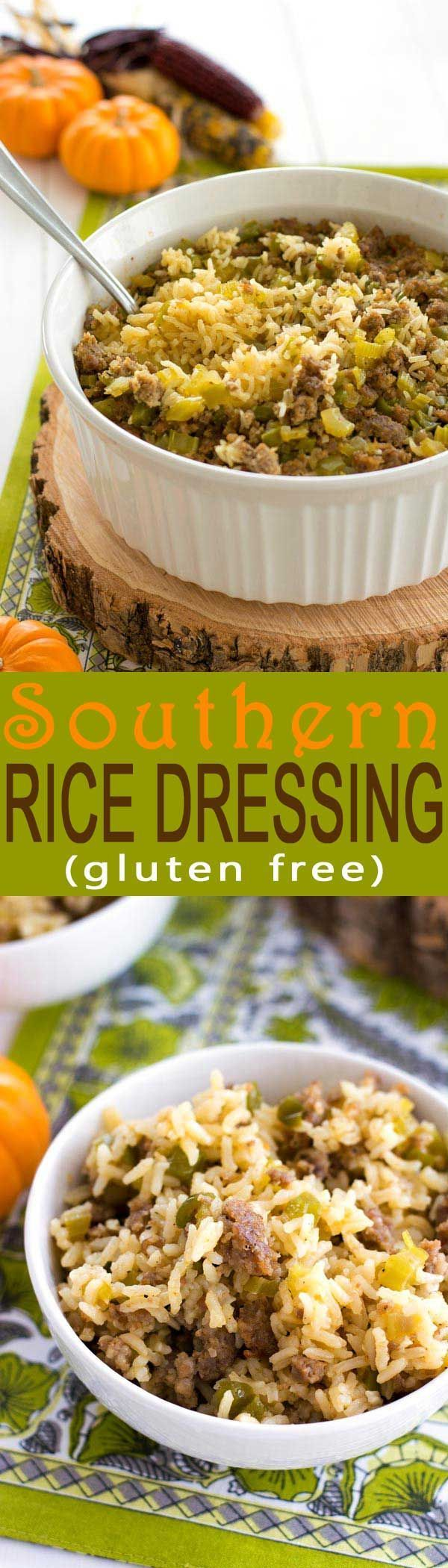 Try this easy rice dressing recipe baked with the traditional flavors of bread stuffing. Great stuffing alternative for gluten free diets!