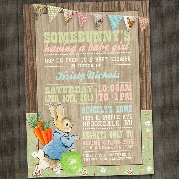 Peter Rabbit Invitation Peter Rabbit Baby Shower por partymonkey