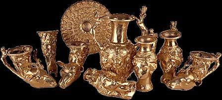 The golden treasure from Panagyurishte was found in 1949 two kilometers to the south of Panagyurishte. It is dated back to the end of the 4th and the beginning of the 3rd century BC . The treasure consists of an extremely beautiful set with rich decorations and ornaments. It was used in feasts or in libations and rituals related to the Thracian mythology. It consists of 9 vessels made of pure gold, weighing over 6 kg (13.2 lb).