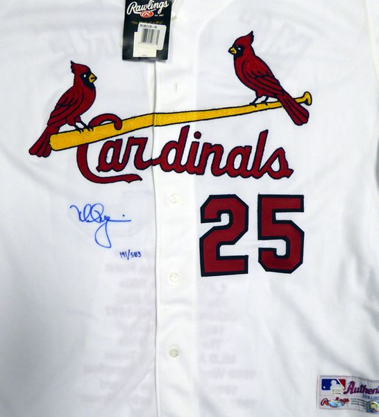 St. Louis Cardinals Mark McGwire Autographed White Majestic Jersey With Stats On Back Limited Edition #4/25 Steiner & MLB Holo #MT00463260