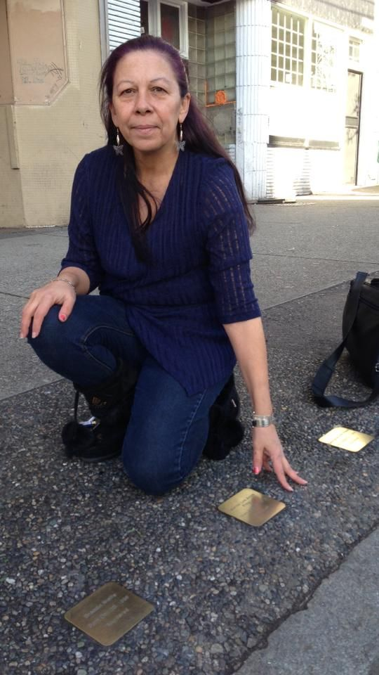 Michele Pineault, mother to Stephanie Lane, polishing the Stones