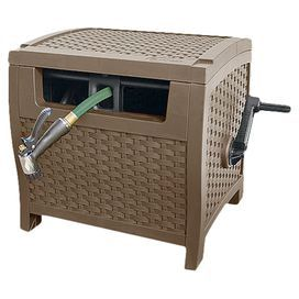 """Hose reel in mocha with woven detailing. Holds up to 175' of 5/8"""" hose.  Product: Hose reelConstruction Material: ResinColor: MochaFeatures:  Woven detailing Holds up to 175' of 5/8"""" hose Dimensions: 19"""" H x 21"""" W x 17"""" D Note: Hose not included"""