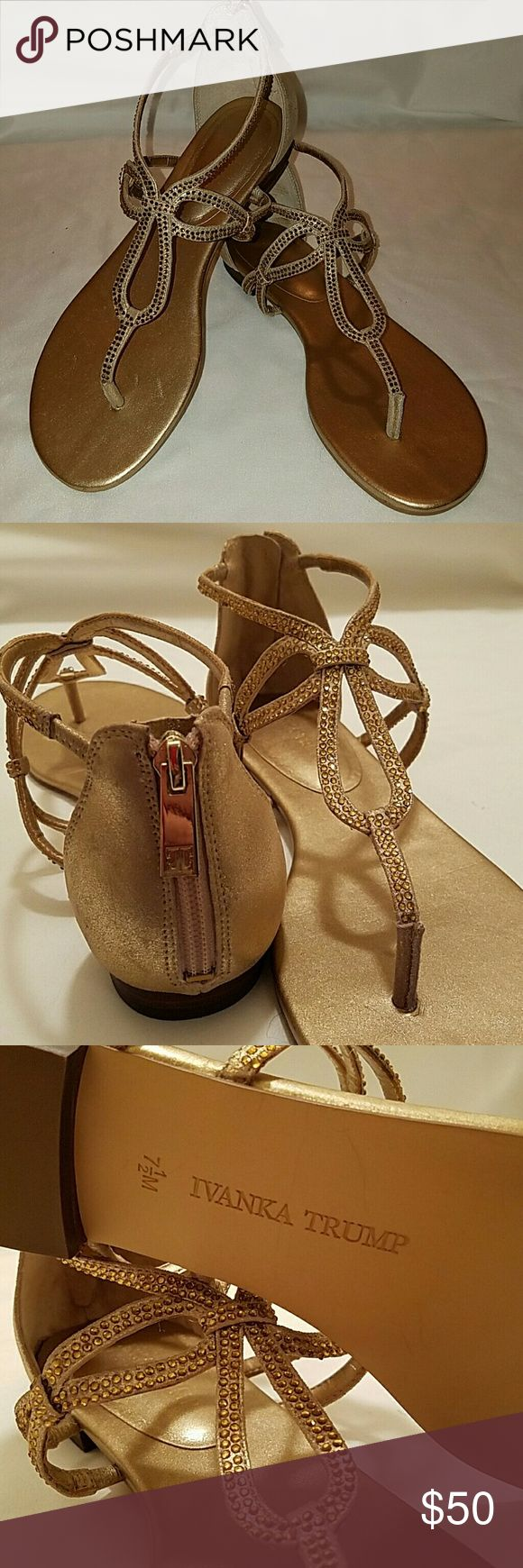 Ivanka Trump NIB Gold sandals This style selling elsewhere on the web for $70! Look great on your cruise or beach getaway in these stunning, size 7.5 Ivanka Trump suede sandals with gold zippers on back and gold tone crystal studs. Brand new, never worn. Ivanka Trump Shoes Sandals