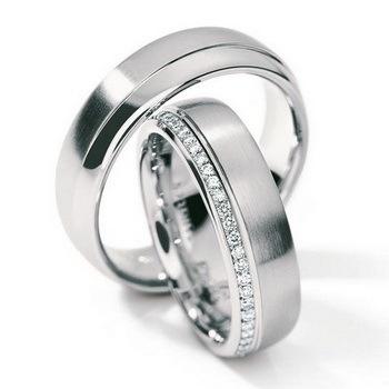 Обручальные кольца матовые из белого золота с фианитами, артикул №64 - купить по лучшей цене, описание, характеристики, фотографии