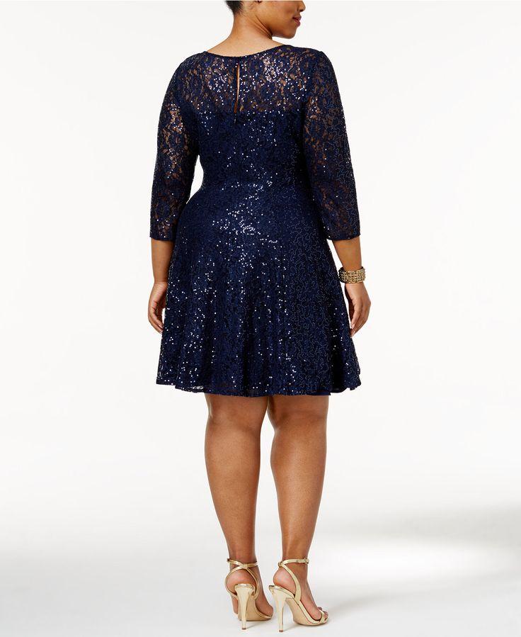 SL Fashions Plus Size Sequined Lace Fit & Flare Dress - Plus Size Sequin Dress - SLP - Macy's