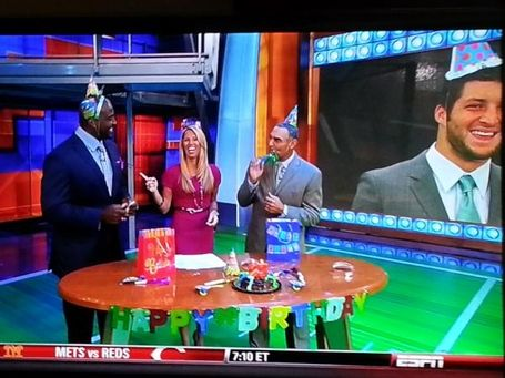 """""""ESPN Celebrates Tim Tebow's Birthday With Expected Restraint"""" sbnation (August 14, 2012)"""