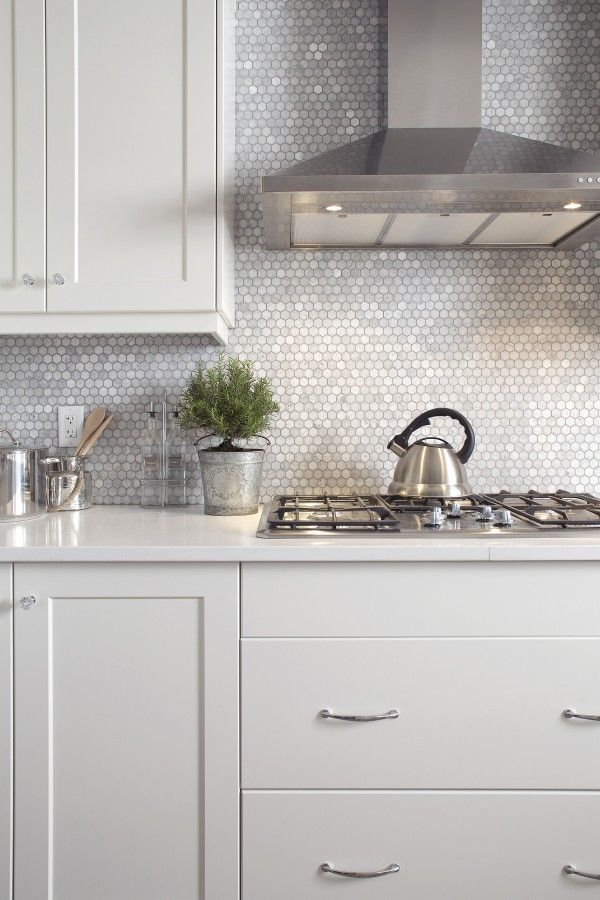 Metallic Finish - Modern Backsplash - Hexagon Tile - Bathroom Ideas - Kitchen Design