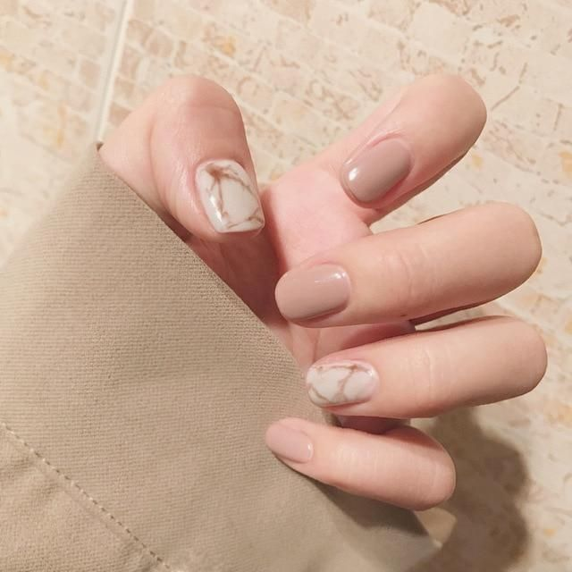 Short Marble Squoval Nails – Fake Nail Store