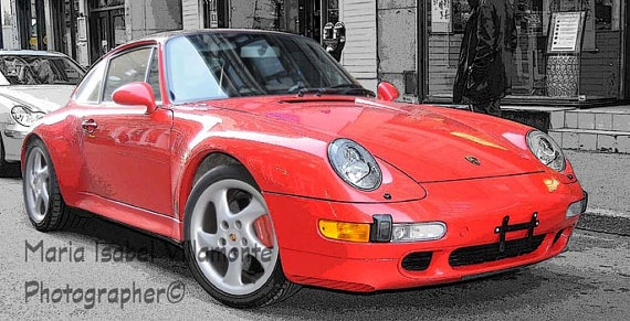 8x12 RED PORSCHE with black and white by IzabelleCollections, $25.00