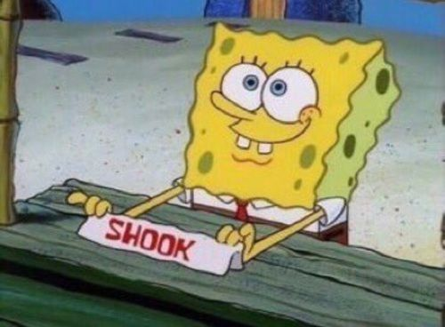 Image result for shook memes spongebob