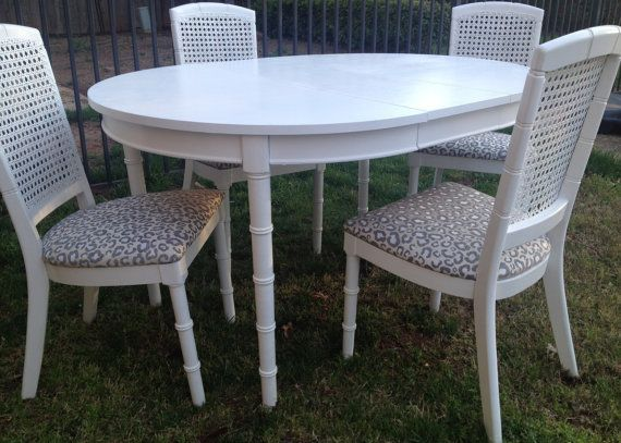Vintage Faux Bamboo Dining Set Cane White Table Four