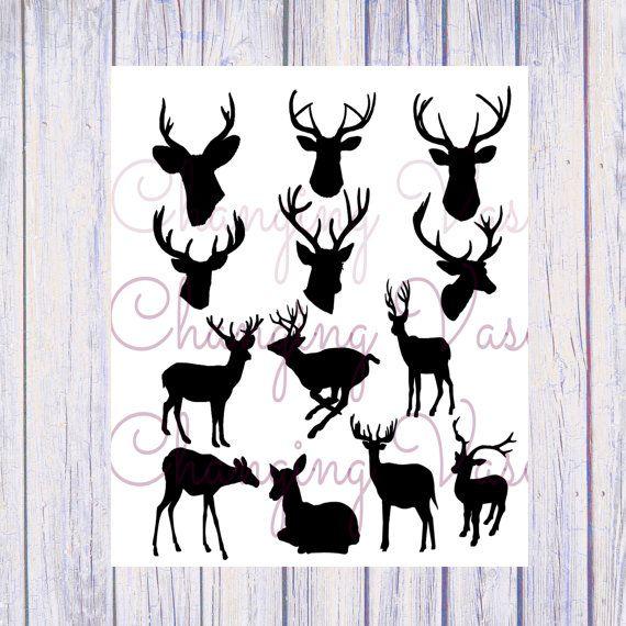 instant digital download deer head silhouettes tattoos
