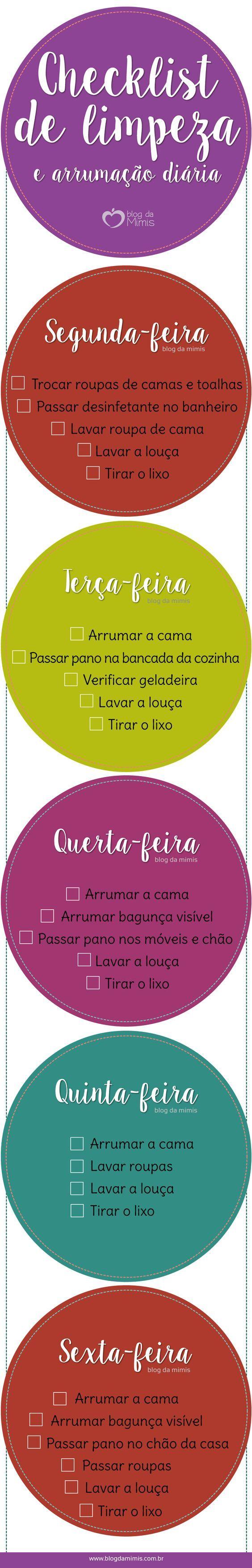 Checklist de limpeza e arrumação diária para imprimir - Blog da Mimis #infográfico #imprimir #checklist #lista #casa #arrumação #limpeza